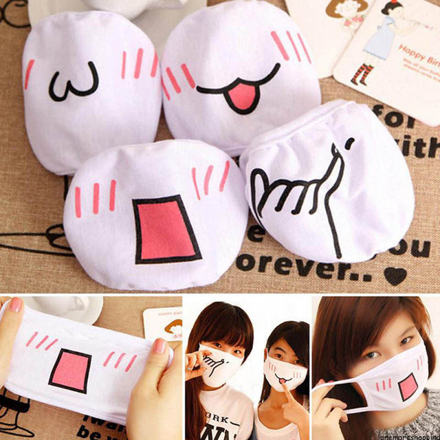 1pc Girls White Cute Anime Kaomoji-kun Emotiction Mouth-muffle Kawaii Cotton Anti-Dust Face Mask Hot Sale 1