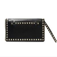 Riveted Pure Color Envelope Banquet Formal Handbag Fashion Lady's Large Wallet Famous Designer for Women