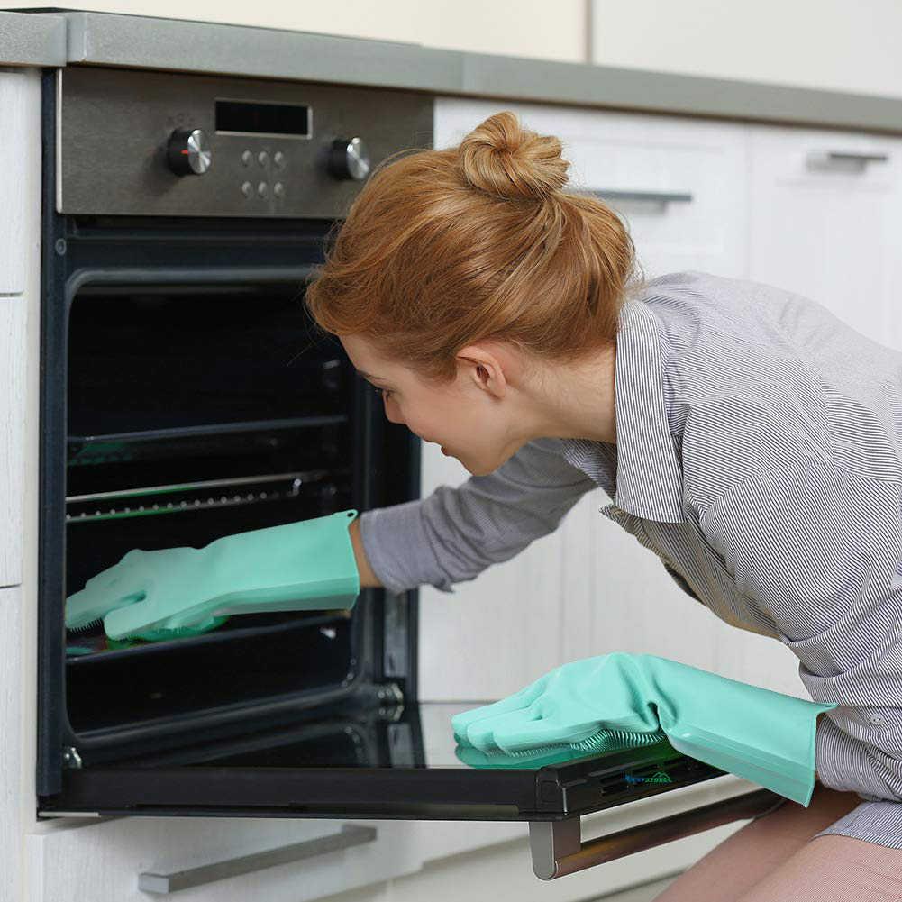 Magic Silikon Pencuci Piring Scrubber Dish Washing Sponge Rubber Gloves Dapur 1 Pasang
