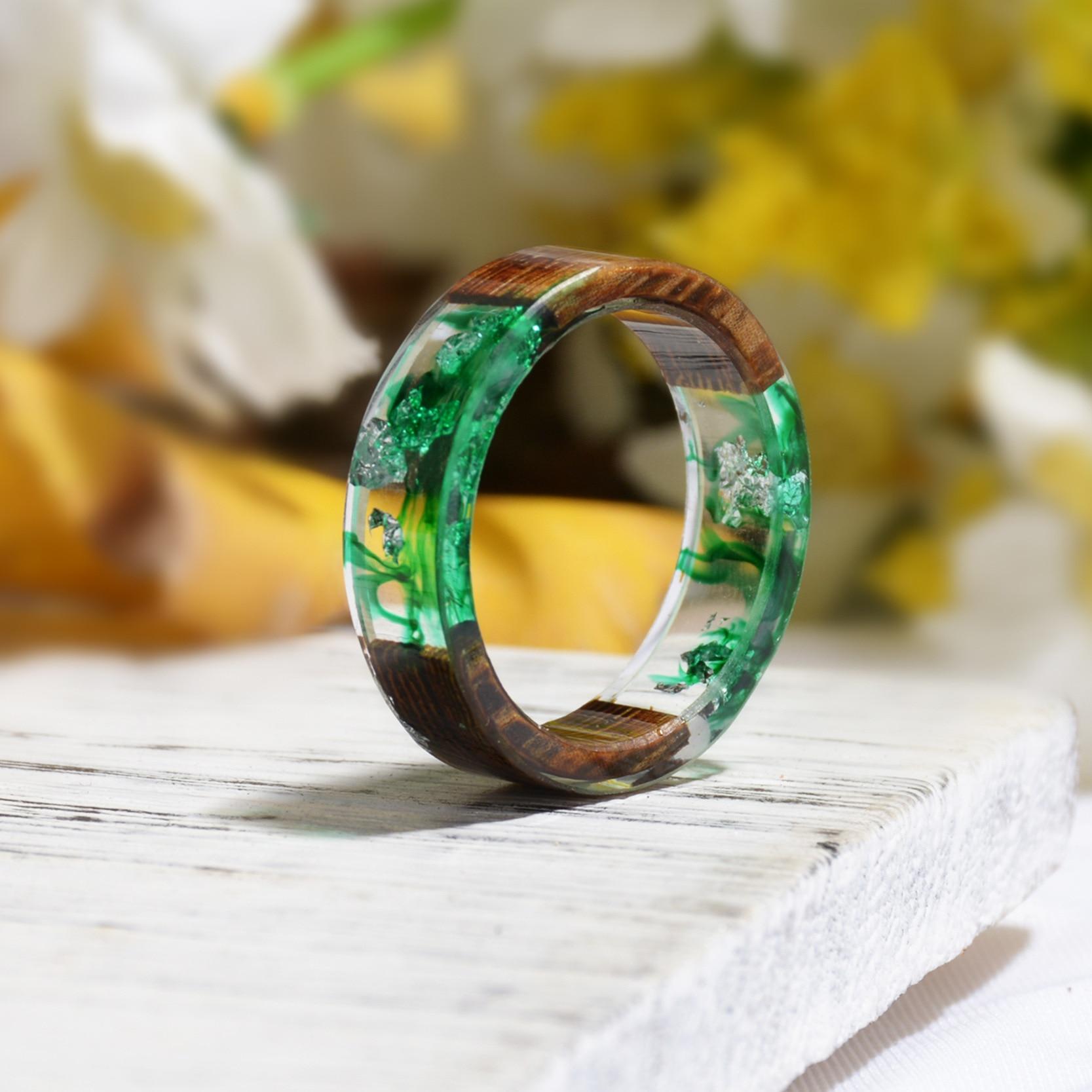 Handmade DIY Dried Flower Wood Resin Ring Elegant Women Wedding Party Rings Gift