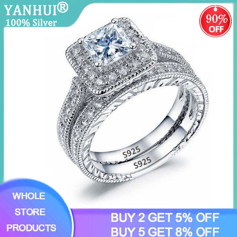 With Certificate Luxury Female Band Rings Sets For Women Silver 925 Jewelry Cubic Zirconia Promise Love Engagement Rings Gift