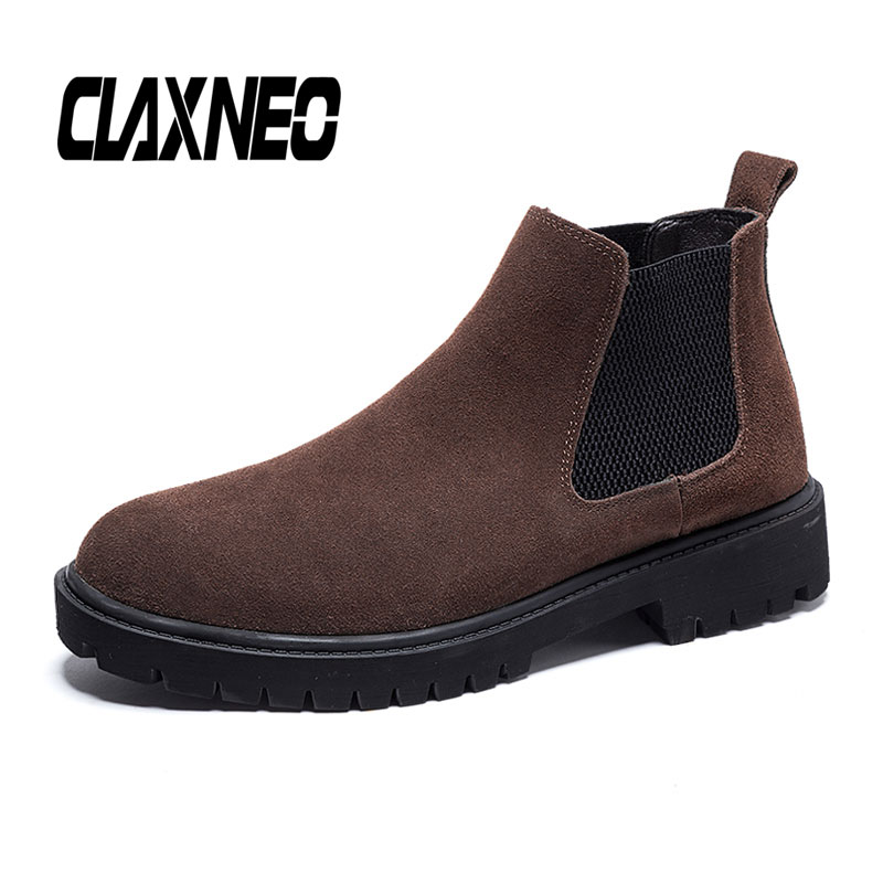 CLAXNEO Man Chelsea Boots Suede Leather Male Ankle Boot Genuine Leather Spring Autumn Mens Casual Shoes Slip On