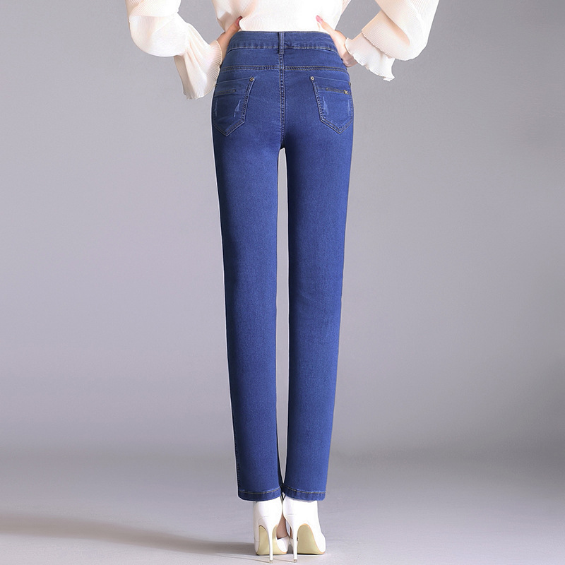2018 Middle-aged WOMEN'S Dress New Style Spring Clothing Jeans WOMEN'S Medium & High Waist Washing Middle-aged Pencil Pants Trou