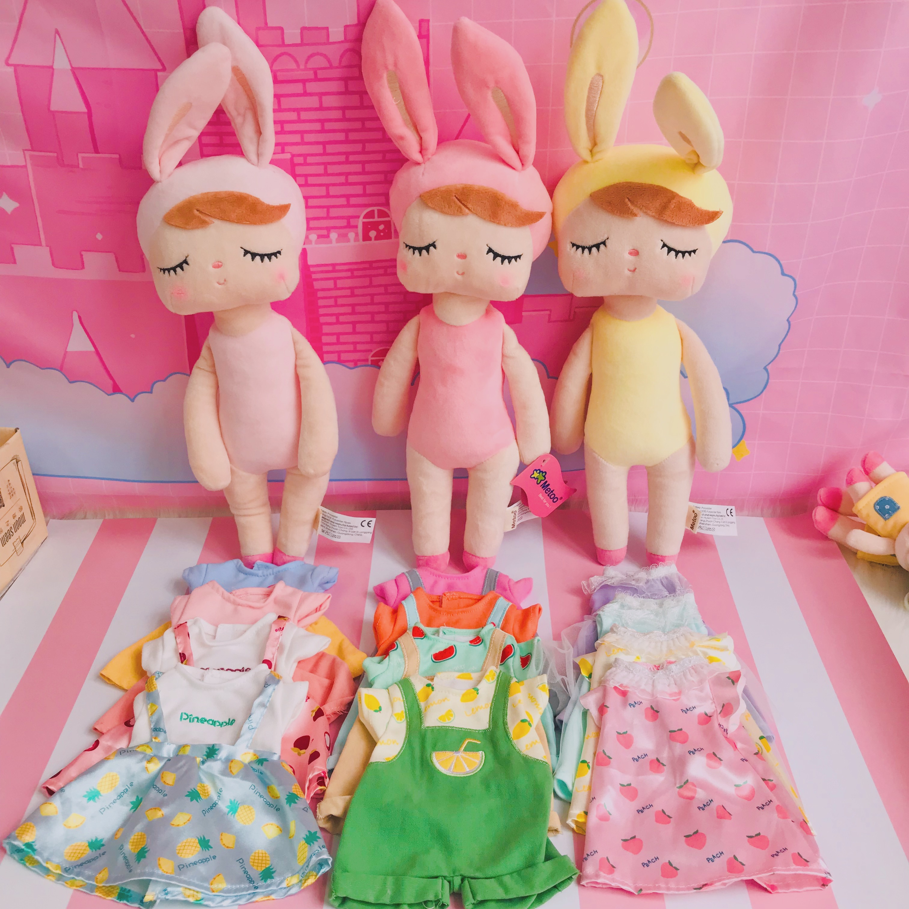 Metoo Plush Toys Angela Dolls Dressing Up Angela 3 Models With 12 Clothes Gifts Rabbit Plush Gifts  For Kids Lovely Toys