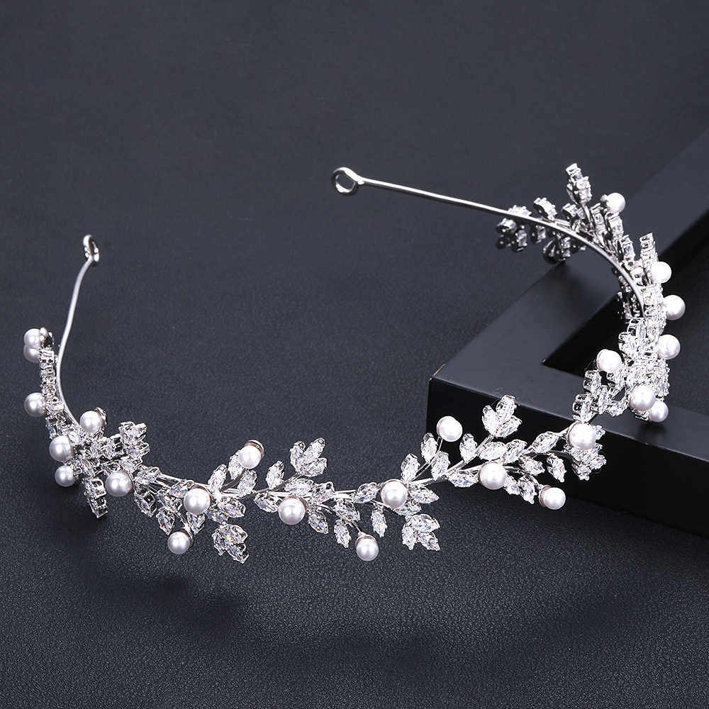 Accking luxury  glittering Crown Wedding Bridal pearl Cubic Zirconia white plated zircon tiara headband For women  girl party