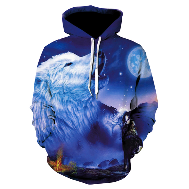 Animal print Wolf top, men's long sleeve fall casual sports hoodie, both men and women can choose from 28 styles