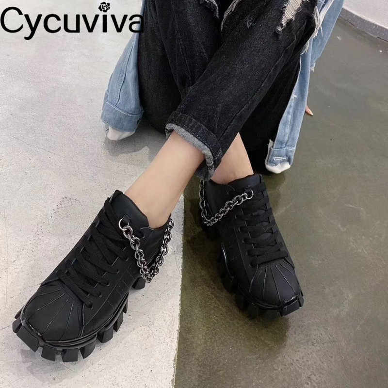 Chic Metal Chain Thick Bottom Sneakers