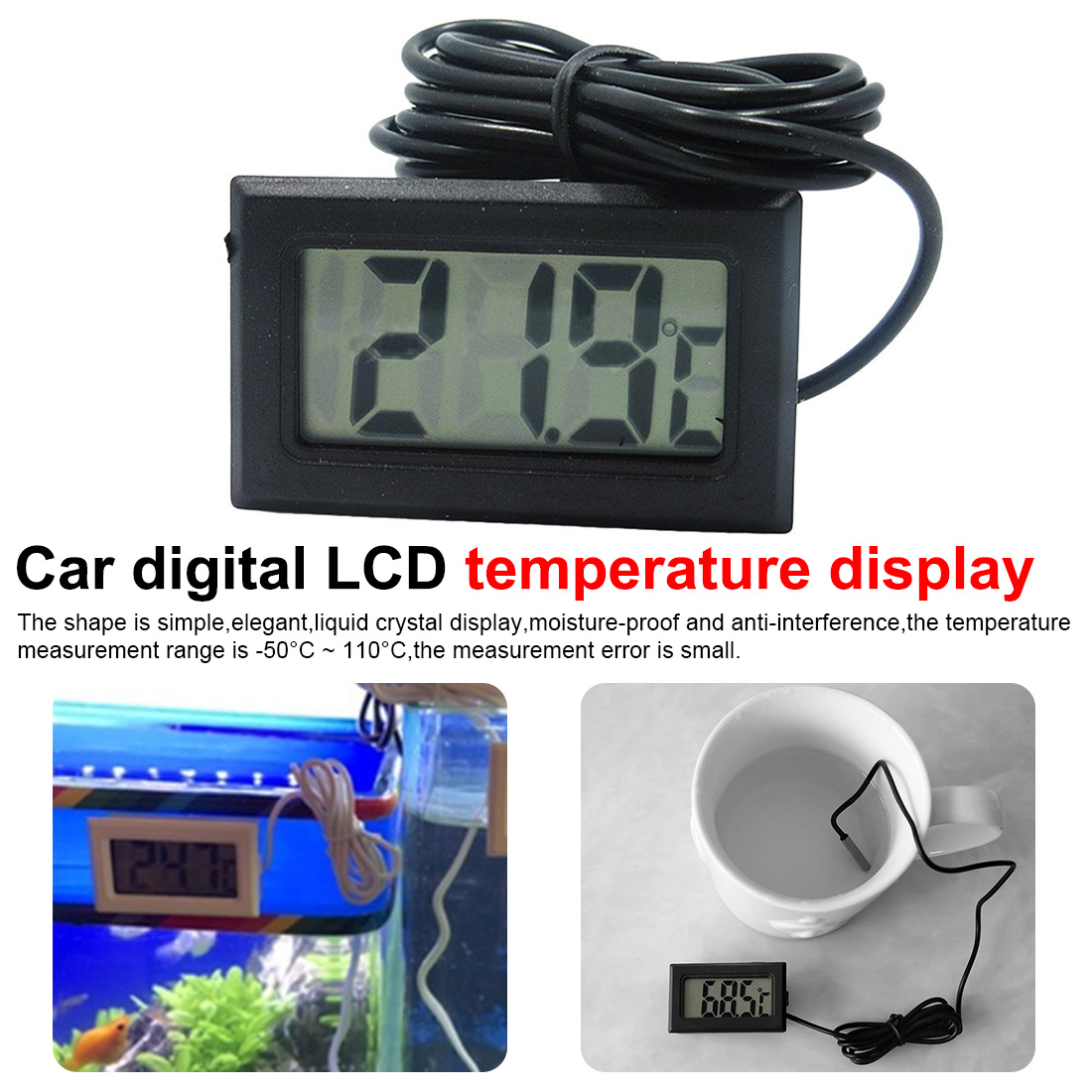 Car Digital LCD Display Temperature Sensor Car Ornaments Accessories Interior Temperature Meter Tools -50-110℃
