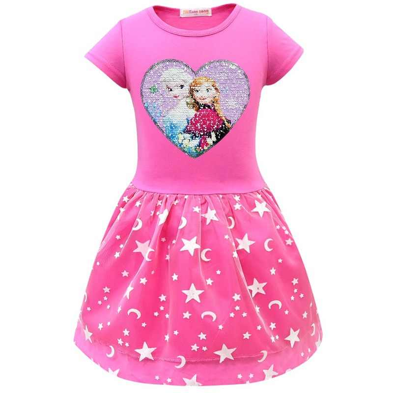 2019 Gadis Ratu Salju Elsa Anna Gaun untuk Gadis Hadiah Natal Pakaian Putri Gaun Pesta Anak Elza Ulang Tahun Pakaian