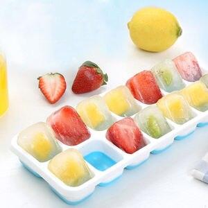 14 решеток пластиковый лоток с формой для кубиков льда с прозрачной крышкой, летняя форма для мороженого, форма для фруктовых кубиков, Нетокс...