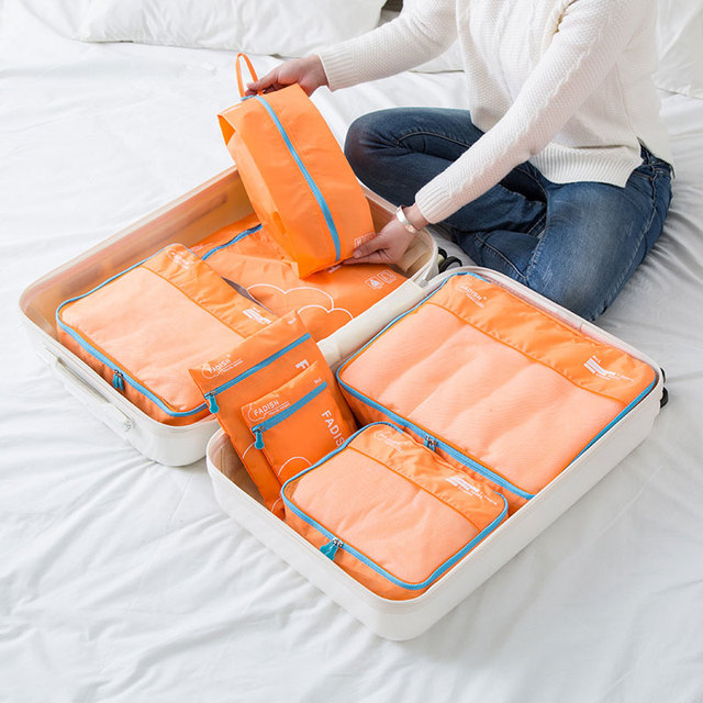 7 Pcs/Set Lightweight Polyester Travel Packing Cubes Portable Waterproof Breathable Men and Women Luggage Packing Organizers 3