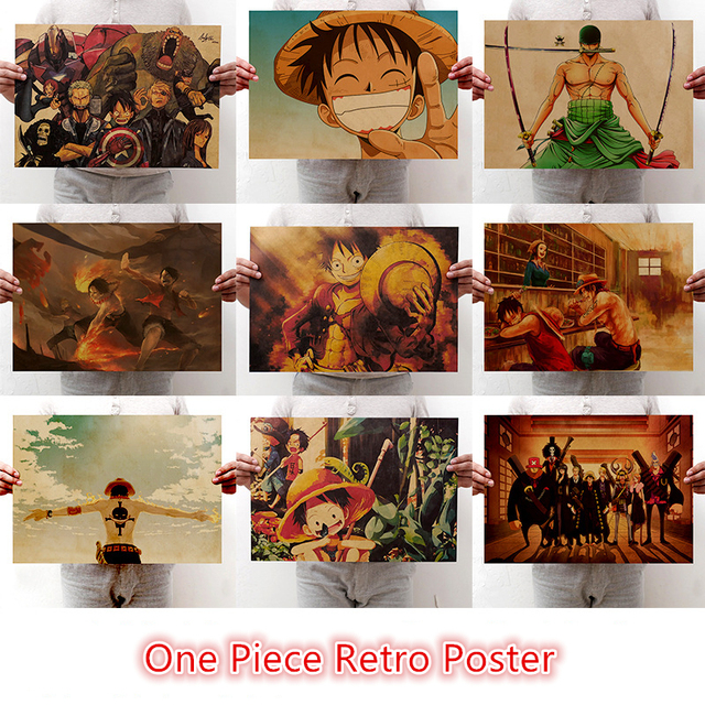 New One Piece Poster vintage Classic Anime Cartoon Kraft Paper Poster Painting Wall Stickers Home Decorative wall art 1