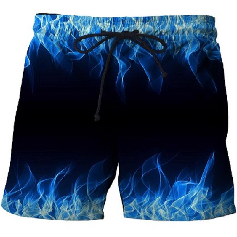 2019 New 3D Blue Flame Print Summer Shorts For Surfing, Men's Beach Shorts, Quick-drying Holiday Travel Shorts