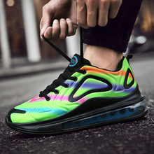 Rainbow Color Cushion Sneakers 2019 Autumn New Women Breathable Mesh Light Runing Shoes  Fashion Couple