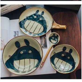Ceramic Rice Bowl Set Cutlery Lovely Japanese Cartoon Mug Dish Spoons Tableware Dishes
