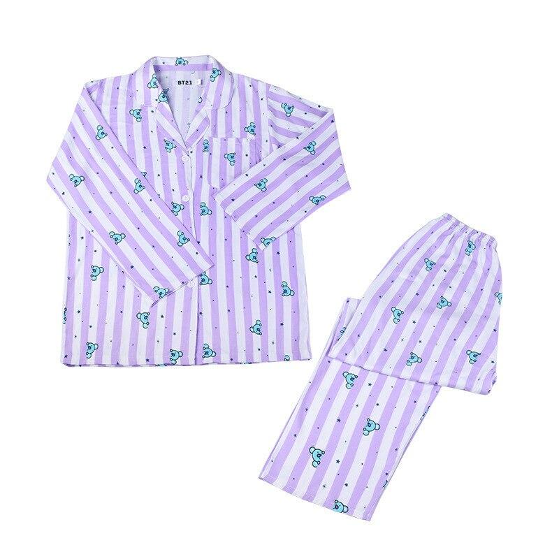 Animal Cartoon Long Pajama Set Polyester Bt Boys Women Kawaii Cute Home Wear Female Harajuku Sleep Wear