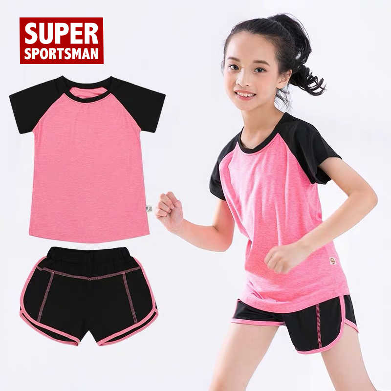 Anak Kebugaran T-Shirt Gym Celana Pendek Olahraga Wanita Gadis Menjalankan Tops Tee Jogging Cocok Anak Pelatihan Yoga Set Pakaian Olahraga