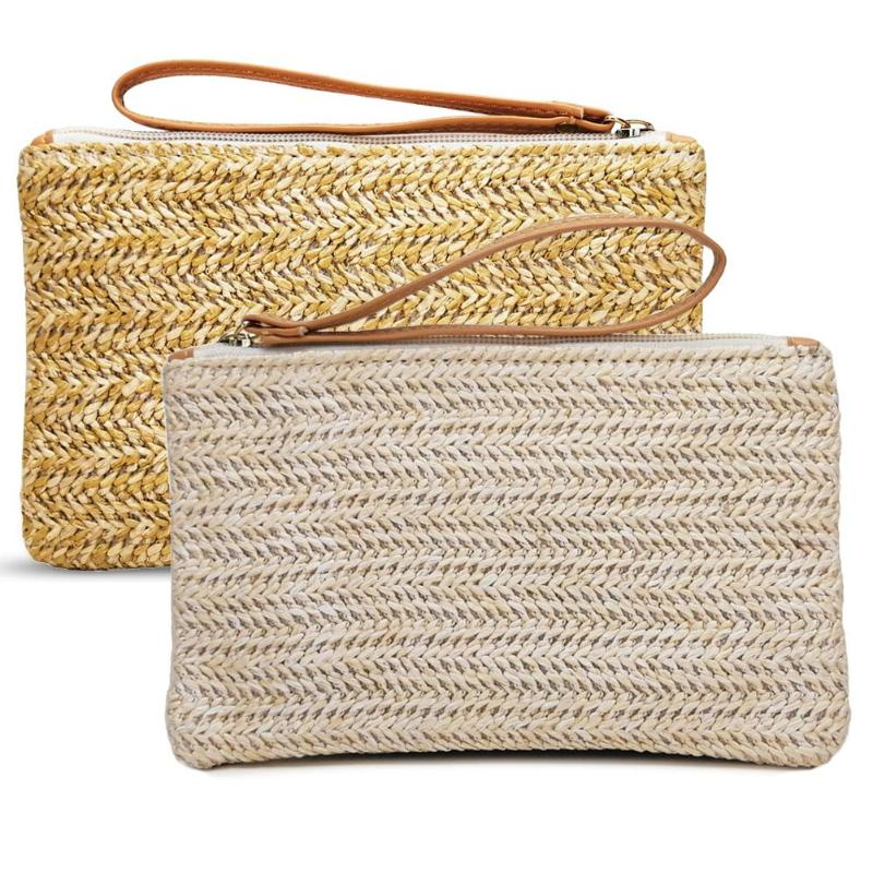 Fashion Ladies Wristlet Clutch Women Daily Money Phone Pouch Straw Woven Coin Purse Casual Summer Beach Wallet Card Bags