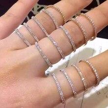 Estilo coreano hembra Pequeño anillo de piedra de circón de oro de moda de Color de la boda banda anillos de promesa anillos de compromiso y amor para las mujeres