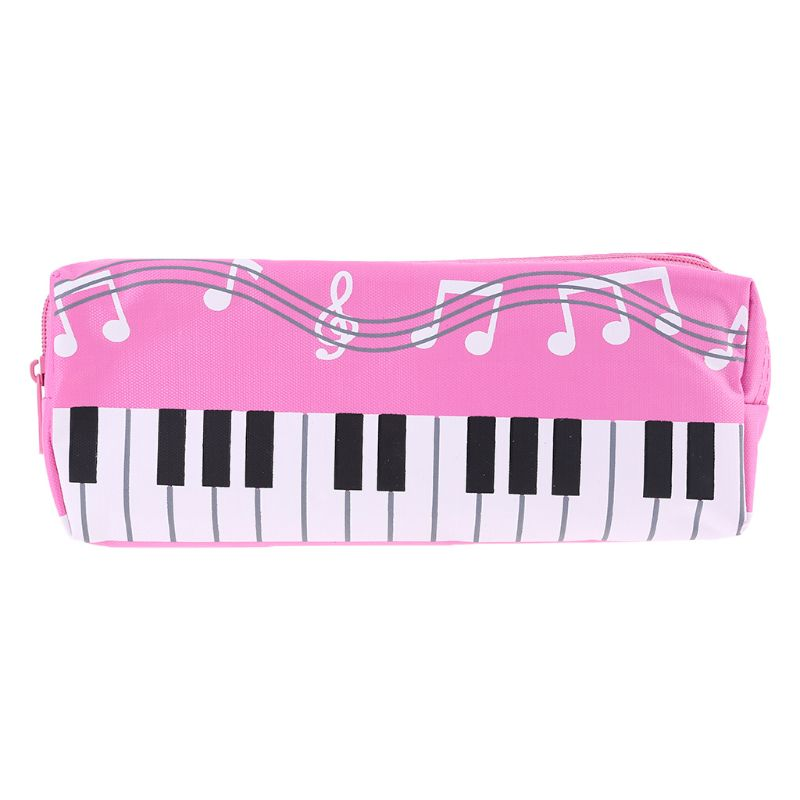 Music Notes Piano Keyboard Pencil Case Large Capacity Pen Bags Stationery Office