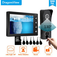 Dragonsview 7 Inch Video Door Intercom RFID Video Door Phone System Black Picture Video Record Motion Detection Wide Angle 130