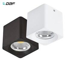 DBF luz empotrada montada en la superficie, cuadrada, blanca/negra, sin cortar, alta potencia, 10W, 20W, 30W, foco de techo, 3000K/4000K/6000K, AC110V, 220V