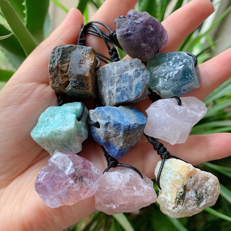 Reiki Healing Stone Raw Rock Mineral Labradorite Crystal Necklaces Natural Amethysts Amazonite Fluorite Quartz Pendant Necklaces