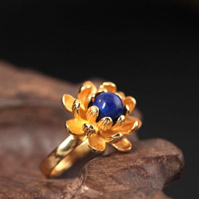Фото женские открытые кольца в виде цветка лотоса серебро 925 пробы