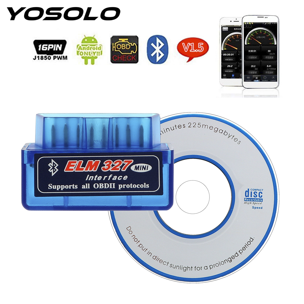 YOSOLO Scan Tools For OBDII Protocol Code Readers ELM327 Bluetooth V2.1 / V1.5 OBD2 Car Diagnostic Tool For Android/Symbian