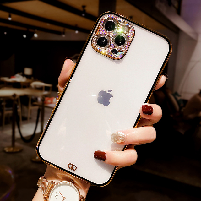 B26 with strap silicon phone case for iphone12  elegant trasparent slim protective back case 3