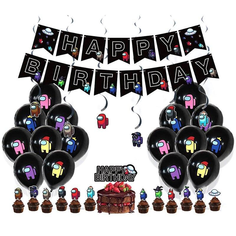 36 шт. среди нас игровую тематику вечерние украшения баннеры для дня рождения воздушных шаров из латекса, торт топпера, комплект детского дня...