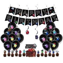 36 pçs amongus jogo tema festa decoração feliz aniversário banners látex balões bolo toppers kit chuveiro do bebê crianças fontes de festa