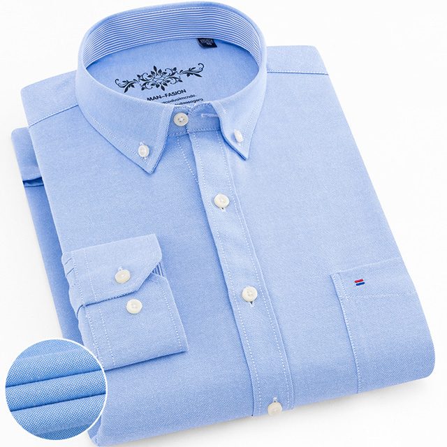 Men's Plus Size Casual Solid Oxford Dress Shirt Single Patch Pocket Long Sleeve Regular-fit Button-down Thick Shirts 7