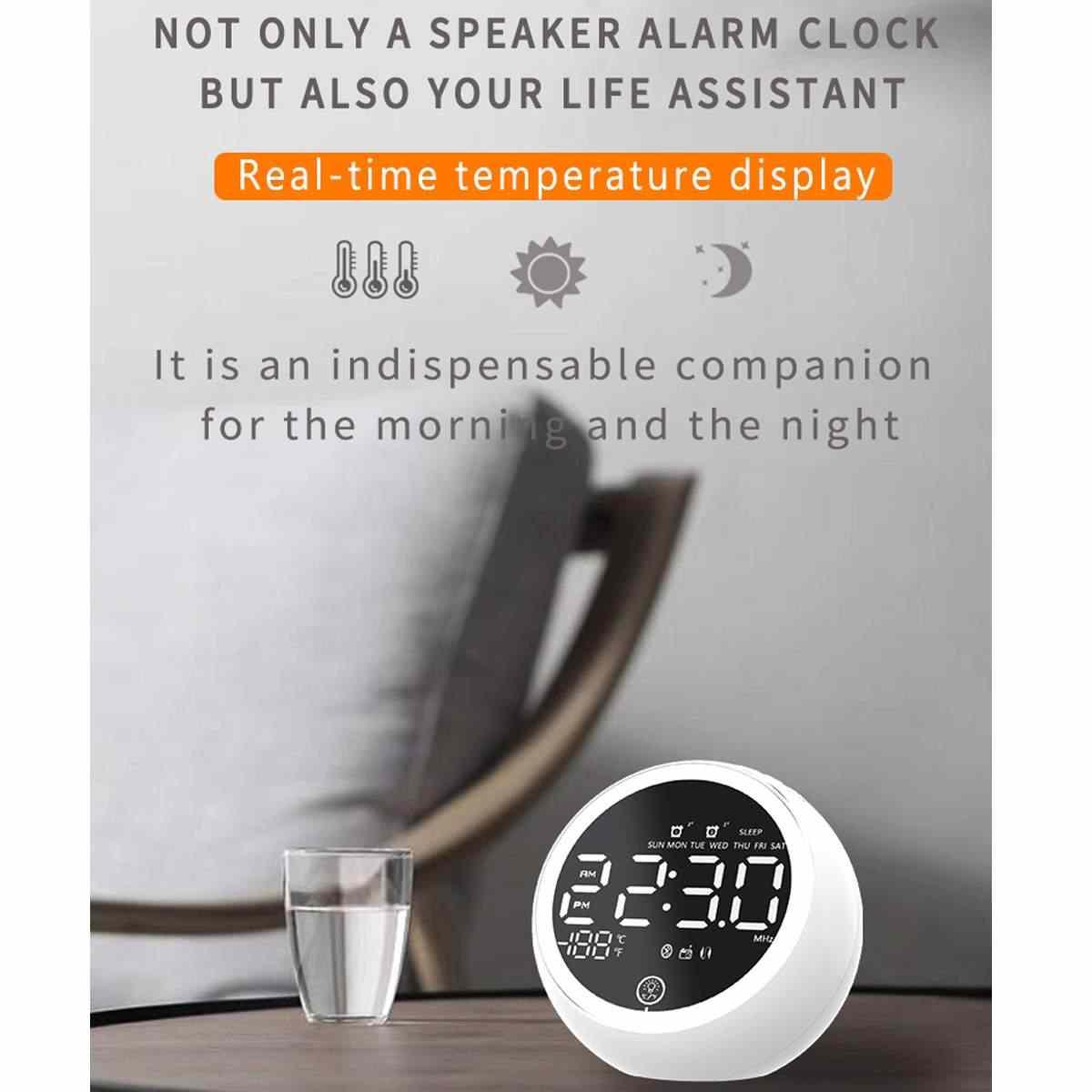 EU Plug Digital Alarm Clock Radio bluetooth Speaker white Digit Display FM radio with Ambient Light USB Port for phone charging