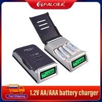 PALO-cargador de batería inteligente con 4 ranuras, pantalla LCD, 1,2 V, AA, AAA, NiCd, NiMh, recargable, 1,2 V