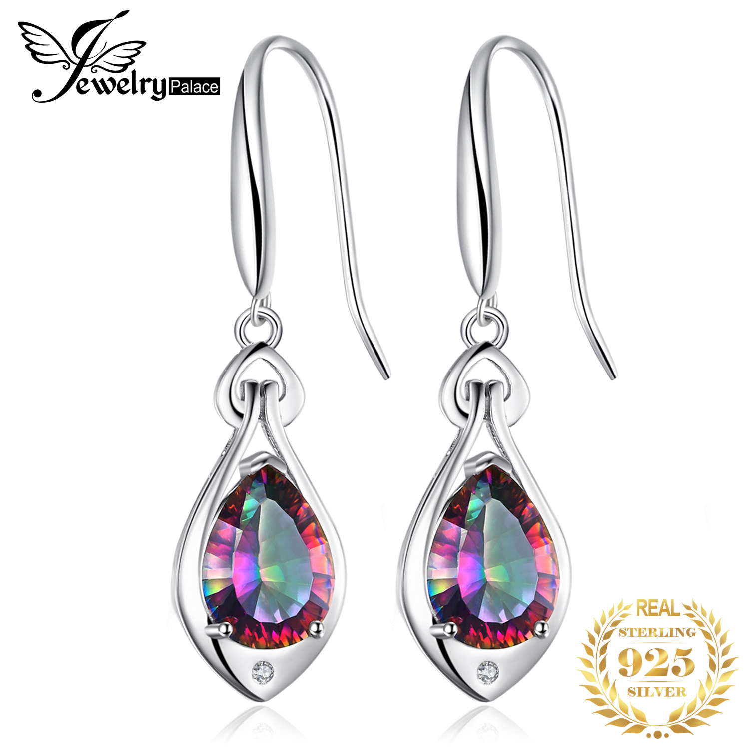 Fashion Pear 7ct Genuine Gem Stone Natural Rainbow Fire Mystic Topaz Dangle Earrings Drop Real Solid Pure 925 Sterling Silver