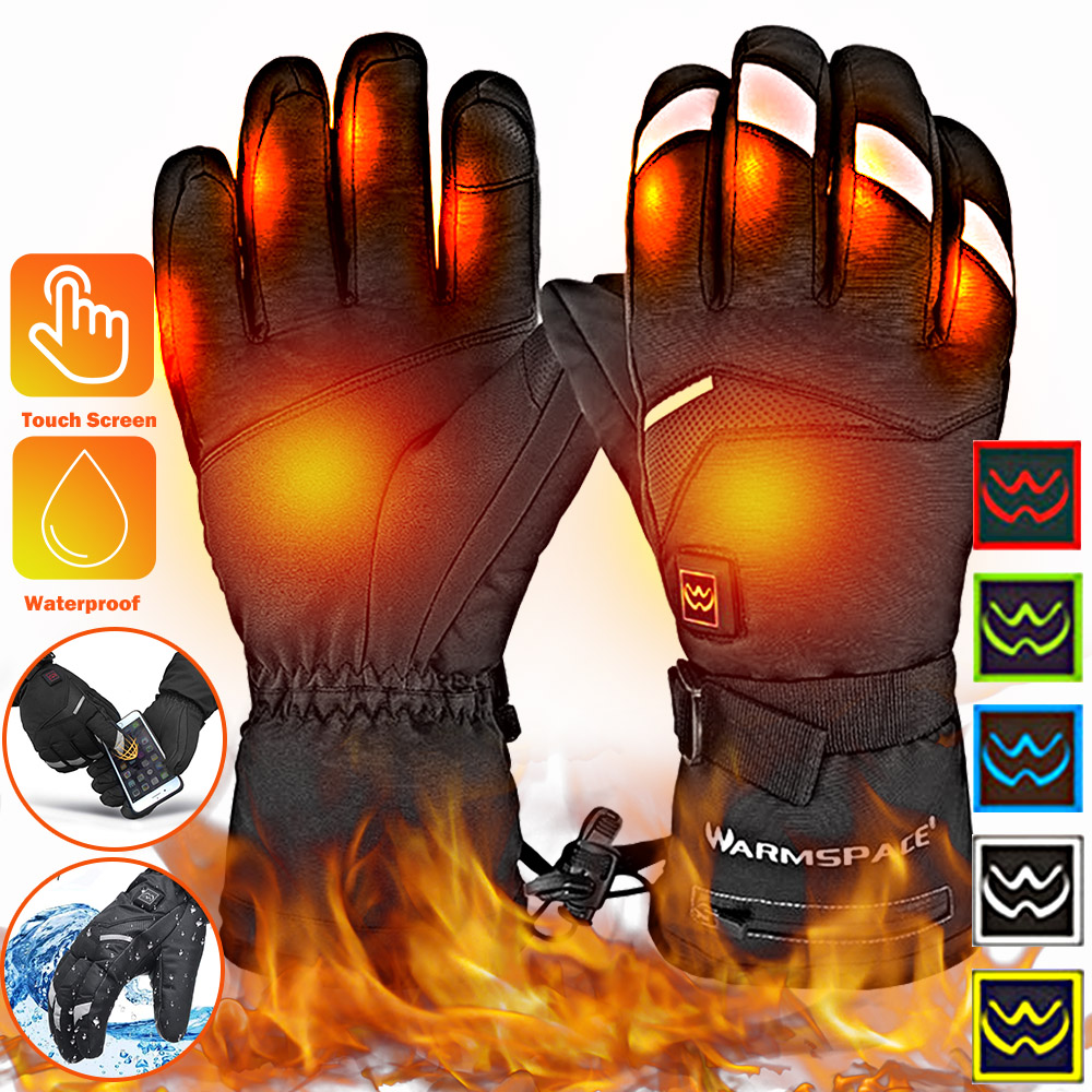 Motorcycle Heating Gloves 5 Levels Adjustable Men Women Waterproof Heated Cycling Gloves Battery Powered Winter Moto Gloves D30