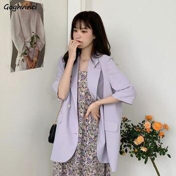 Ulzzang – blazer uni à manches mi-longues pour femme, vêtement dextérieur, simple boutonnage, fin, loisirs, tout assorti, poche, style Preppy
