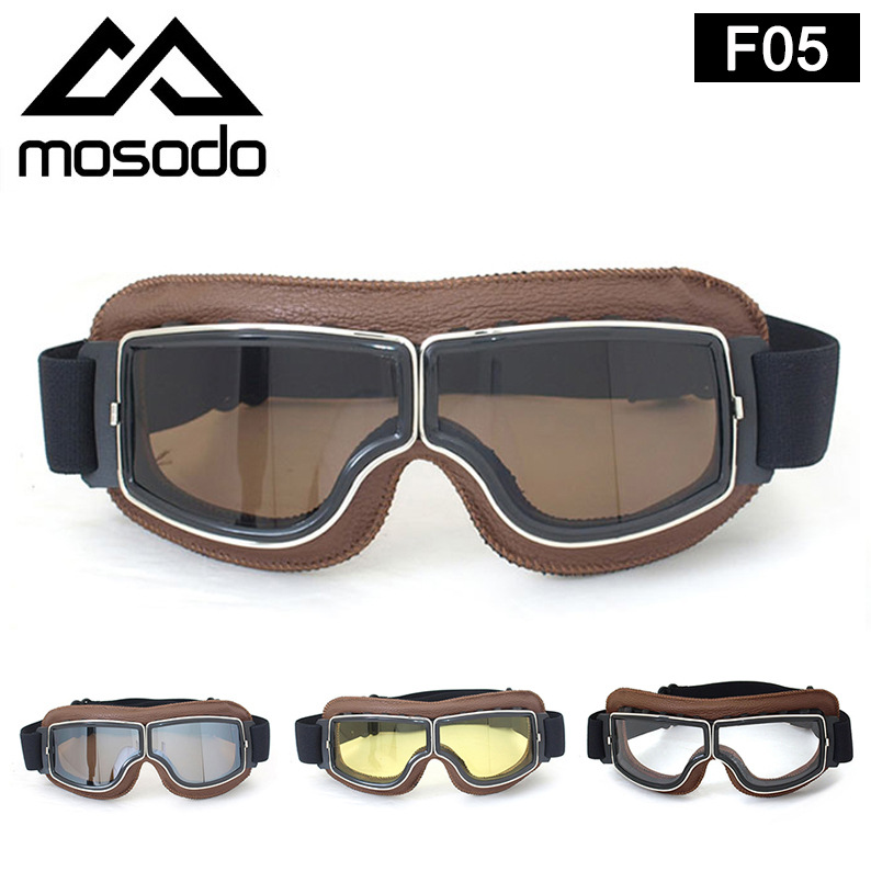 Retro Goggles Hide Substance Harley Glasses Motorcycle Goggles Outdoor Protective Goggles F05 Brown Leather Series