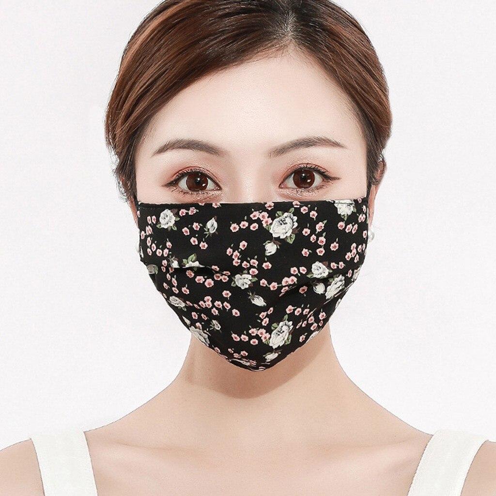 Женская шифоновая моющаяся дышащая маска для рта с принтом, удобная Пылезащитная многоразовая маска для лица против загрязнений, маски #30