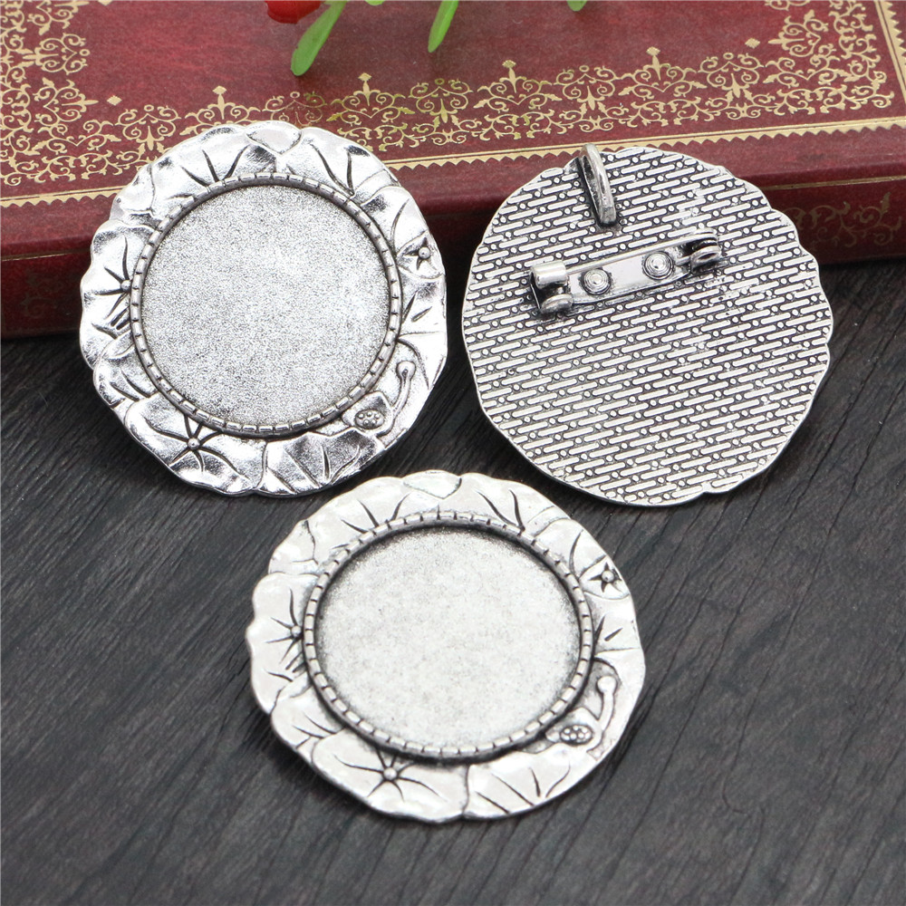 New Fashion  2pcs 25mm Inner Size Antique Silver Plated Brooch Flowers Style Cameo Cabochon Base Setting (A5-20)