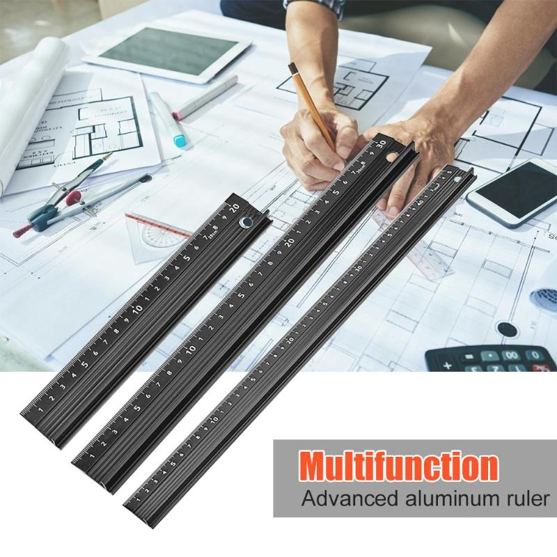 Aluminum Alloy Protective Ruler Smooth Appearance Superb Craftsmanship Non Slip Straight Ruler Woodworking Cutting Tool
