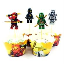 24 sztuk/paczka chłopcy dzieci dobrodziejstw imprezy urodzinowe strona Ninjago motyw ozdoba na wierzch tortu dekoracje Happy Baby Shower Cupcake owijarki