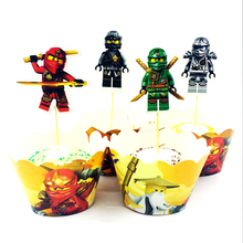 24pcs/Pack Boys Kids Favors Birthday Events Party Ninjago Theme Cake Topper Decorations Happy Baby Shower Cupcake Wrappers