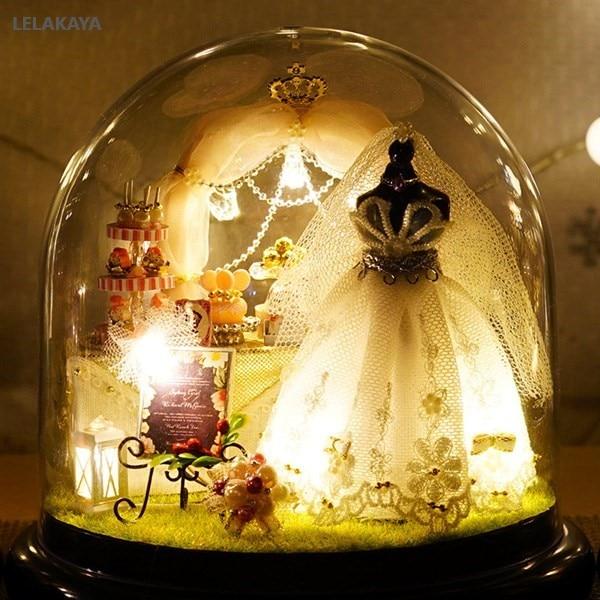 Spring Flowers DIY Handmade Mini Doll House White Wedding Dress Wooden Miniature Home Assembling Decoration Glass Ball Dollhouse