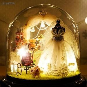 Image 1 - Spring Flowers DIY Handmade Mini Doll House White Wedding Dress Wooden Miniature Home Assembling Decoration Glass Ball Dollhouse