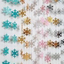 4M small snowflake pull flower flag christmas decorations Xmas ornaments for the house Winter theme party decoration