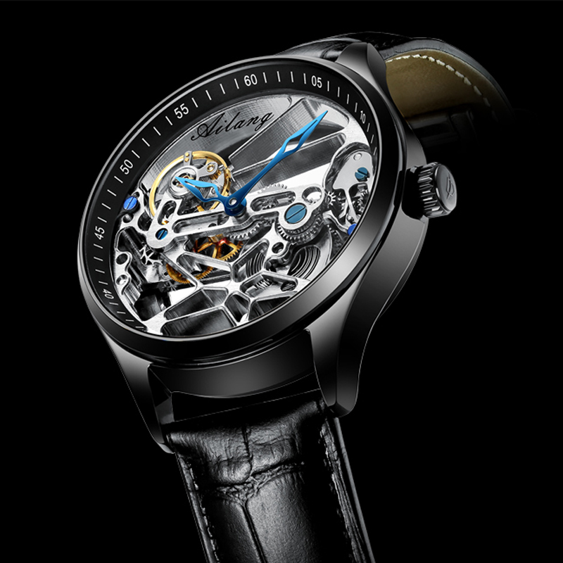 2020 New Men's Automatic Mechanical Watch Top Brand Leather Hollow Waterproof Tide Brand Men's Watch