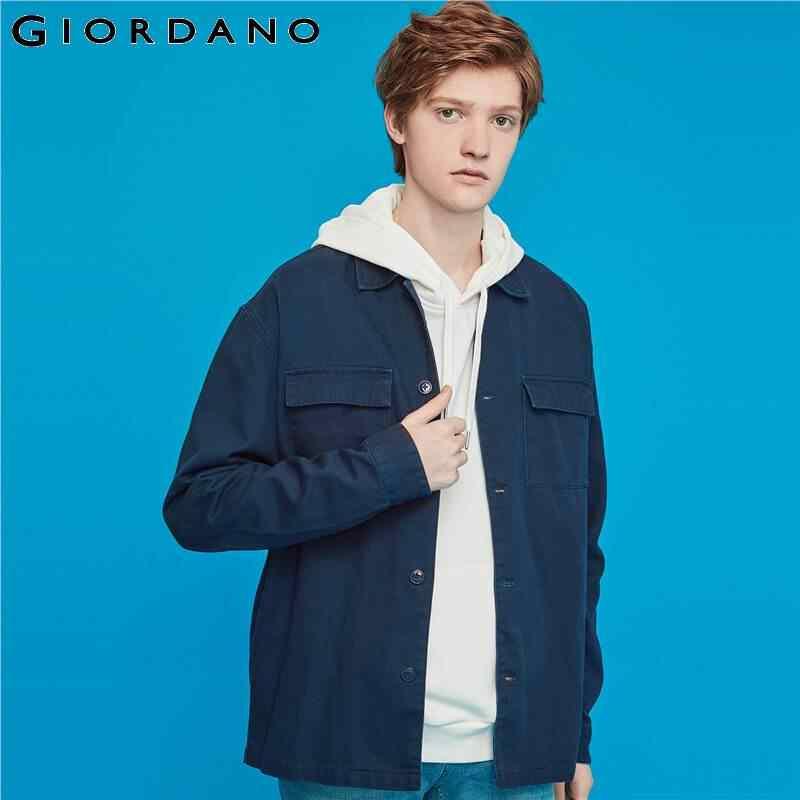 Giordano/мужские куртки с карманами и отворотом, куртка с воротником-стойкой, 100% хлопок, свободный крой, на пуговицах, Jaqueta Masculino 01079676