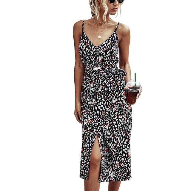 Women Camisole Boh Leopard Print bandage dress Sleeveless V-Neck long Dress summer floral dress sukienki j4s